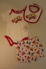 NEW Baby Girls 3 pc Set 6 - 9 Months Bodysuit Diaper Cover Bib Outfit Butterfly