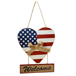 Wooden Patriotic Welcome Sign with American Flag Hearts 4th of July Decoration