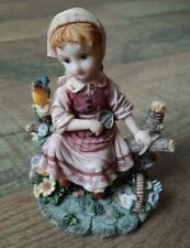 """Montefiori Collection Italy Design Girl Sitting on Fence Bird Flowers Rustic 5"""""""