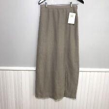 Eileen Fisher Skirt Linen Straight Long Backslit  M Tan Natural Laundered Modest