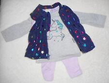 Baby Mädchen Kleid Set 3tlg Anzug 🐞 STEPPWESTE 🐞  Weste  Pulli Hose 🐞 EINHORN