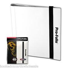 BCW WHITE Pro-Folio Binder Album 4 Pocket Side Load holds 160 Cards