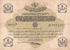 #Ottoman Empire 5 Piastres 1913 P-87 AF+ Sultan Muhammad V