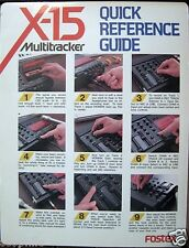 Quick Reference Guide for Fostex X-15 Multitracker Analog Recorder 80's Vintage