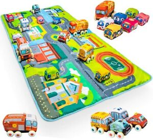 UNIH Soft Plush Car Toy Toddler Toys with Baby Play Gym Activity Mat