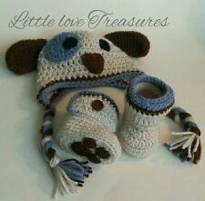 NEW Newborn Baby Boy Puppy Hat and Booties Crochet infant Photo Prop Gift