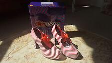 Candycane Mary Jane Zapatos Funtasma de estilo vintage y retro Rojo Blanco Reino Unido 6 en Caja Burlesque