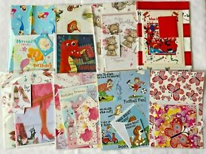 Men Lady Children Girl Boy Birthday Gift Wrap Wrapping Paper With Free Card, Tag