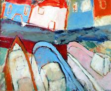 Jean-Pierre Loeffler (1947 - ) ◊ Le port ◊ Huile sur toile signée encadrée