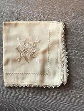 Vtg ecru lace edged handkerchief/hanky - open work embroidery silk/linen?