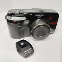 olympus superzoom 120 point shoot film camera multi AF with storage bag & remote