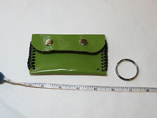 "Handmade Patent leather coin / card / key holder green black 4.25"" X 2.5"""