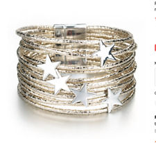 Gold Leather and Silver Star  charm MultiLayer Bracelet Bangle, magnetic clasp