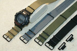 Compatible with Casio 24mm adapters & Military MOD Design Nylon Strap & Tool