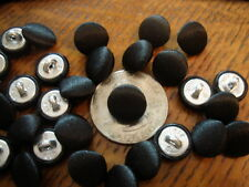 "11MM Tuxedo Buttons Black Satin Fabric Cover metal shank 7/16"" 24pcs Fancy Dress"