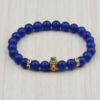 Fashion Charm Golden Crown lion 8MM Blue Natural Stone Beads Bracelets Jewelry