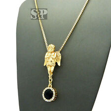 """Hip Hop Pave Micro Baby Angel Onyx Stone Pendant w/ 2mm 24"""" Necklace SPRC1428"""