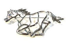 Bijou alliage argenté broche fantaisie cheval au galop Brooch