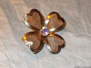 VINTAGE 60'S GOLD TONE MESH AB CRYSTAL FLOWER BROOCH