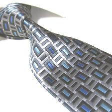 "Extra Long Polyester Woven Tie,Microfibre Silver/Black/Blue XL Necktie PL225 63"""