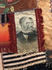 Antique Crazy quilt coverlet 1880's Political Republican Amazing Ooak Rare