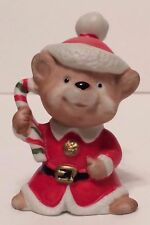 Homco Porcelain Christmas Bear with Candy Cane Figurine - #5600 - 3� Tall
