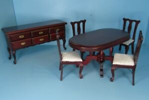 Dollhouse Miniature Wood Mahogany Dining Room Set with Side Buffet 03603
