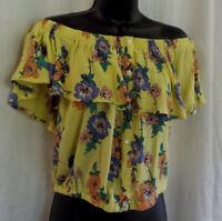 Derek Heart Peasant Crop Top NWOT Yellow Floral Rayon Sleeveless Ruffle Overlay