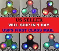 NEW MODEL LED Light Up Tri Spinner Fidget Ceramic Glow Toy with Power Button US