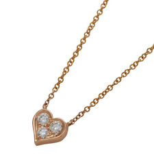 TIFFANY&CO Sentimental Heart Diamond Necklace 18k Pink rose Gold Authentic