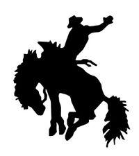 BUCKING HORSE & COWBOY RODEO BLACK  car sticker vinyl decal window van car door