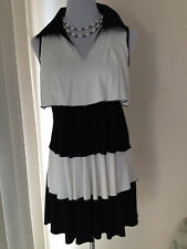 ladies casual dress 2 tone black and white size 8 asian GETTA