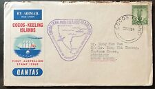 Australia Cocos Island QANTAS Stamp cover to Malaya (top rough opening)