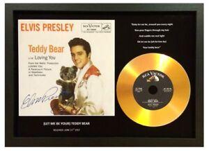 ELVIS PRESLEY 'TEDDY BEAR' SIGNED PHOTO GOLD DISC COLLECTABLE MEMORABILIA GIFT