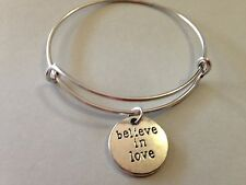 Believe In Love Bracelet Charm Bangle SILVER Inspirational Message Heart Couples