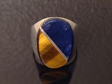 Mens Sterling Blue Lapis & Tiger'S Eye Ring Signed Meg Mexico Sz 11.5