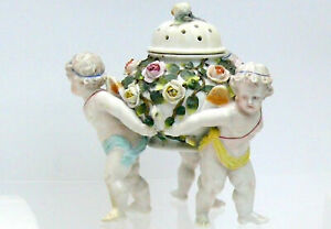 Antique Early German Sitzendorf Porcelain Bowl with Cherubs and Flowers c1890 -