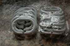2 Packs of 10 Shower Curtain White Plastic Rings Hooks New & Sealed
