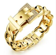 Women luxury crystal jewelry belt buckle gold silver plated charmbangle bracelet