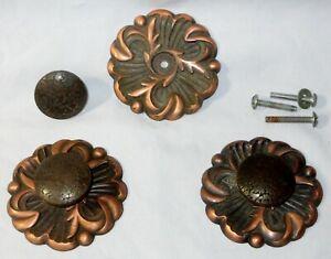 """3 Copper Color Cabinet / Drawer Handles & Back Plates 2 3/4""""  OLD Hardware L@@K!"""