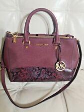 Michael Kors  Bag Burgundy wine Snake Skin  Leather Pvc Handbag Crossbody