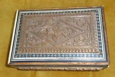 Genuine antique sculpté Cèdre du Liban Avec Nacre + bordures vintage box