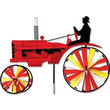 """Red Farm Tractor Staked Wind Spinner (Larger 32"""" Size) with Pole PR 25661"""
