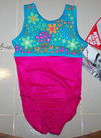Nwt New Alpha Factor Leotard Teal Flower Hot Pink Silky Shine Tank Girl S 4 5