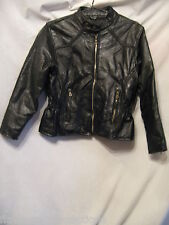 DIAMOND PLATE Genuine Black Leather Patch Design Motorcyle Coat Jacket Ladies S