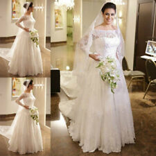 A-Line Long Sleeves Modest Wedding Dresses Off-Shoulder Sweep Train Plus Size