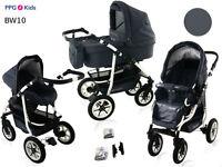 Baby Pram Pushchair Buggy Stroller + Car Seat + Raincover, Travel System 3 in 1