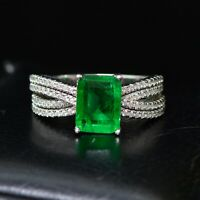 925 Sterling Silver Natural Octagon Cut Colombian Emerald Gemstone AD Ring