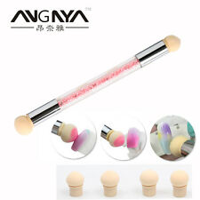 Nail Sponge Art Brush With Extra 4 Sponge Heads Rhinestone Handle Nail Art tools
