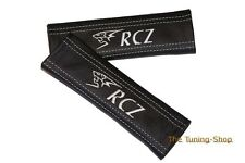 SEAT BELT COVERS PADS BLACK LEATHER EMBROIDERY LION RCZ WHITE STITCH FOR PEUGEOT